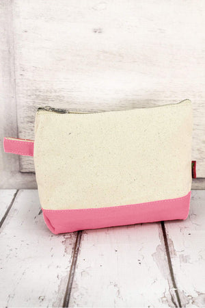 Canvas Cosmetic Bag with Coral Trim