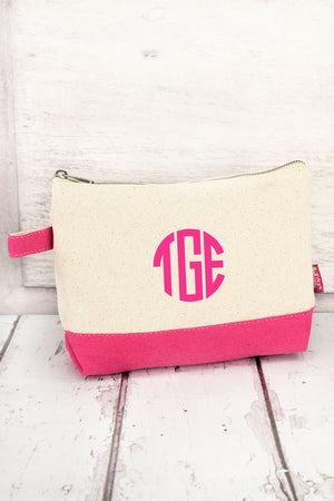Canvas Cosmetic Bag with Hot Pink Trim