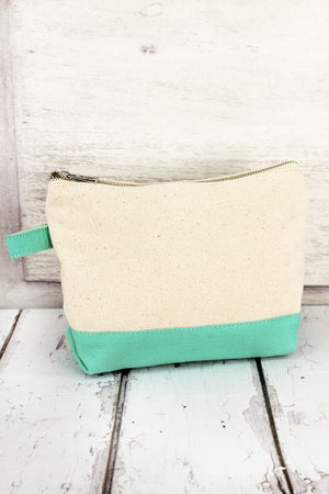 Canvas Cosmetic Bag with Mint Trim