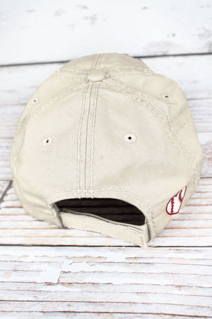 Distressed Stone Baseball Heart Cap