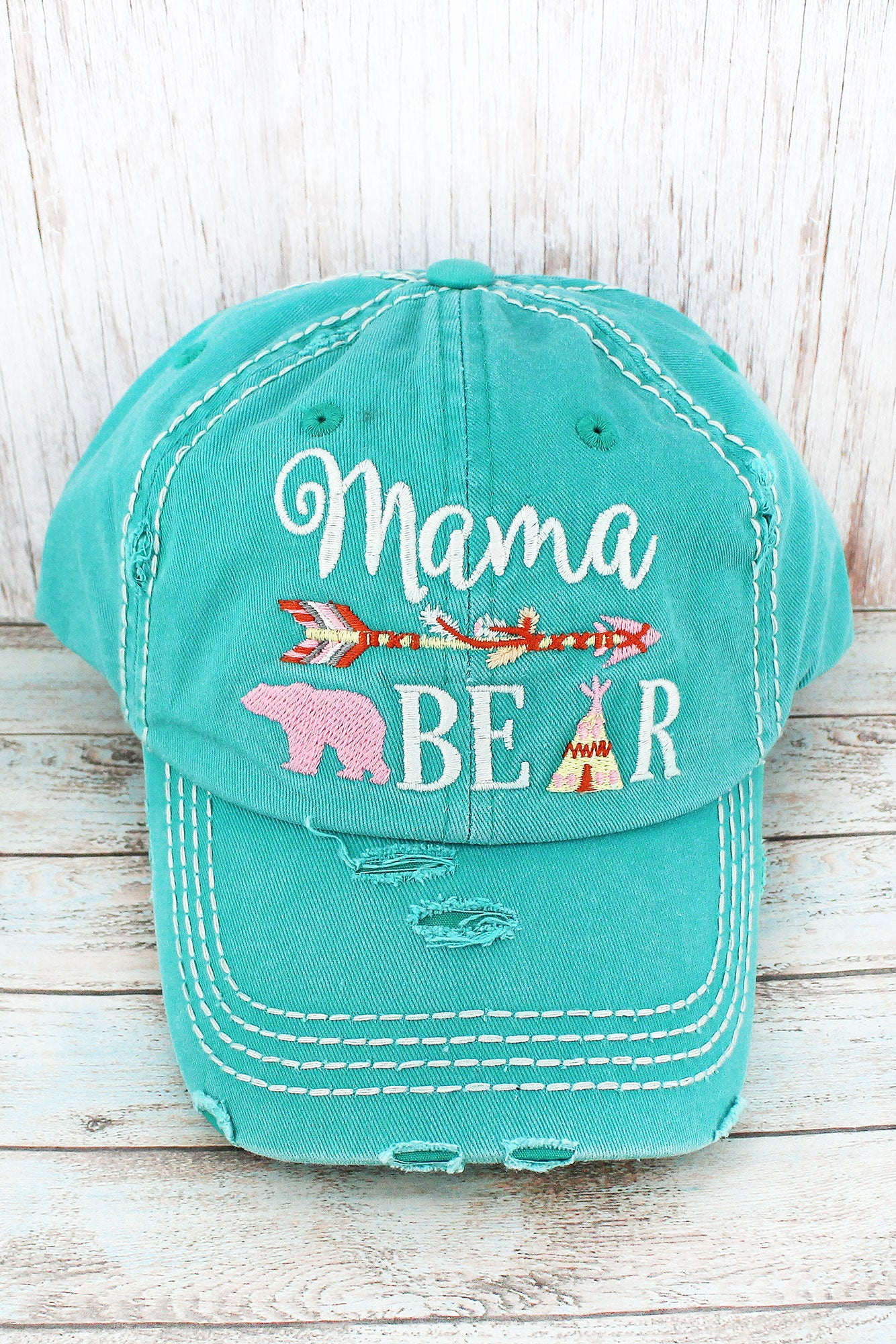 Distressed Turquoise Western 'Mama Bear' Cap
