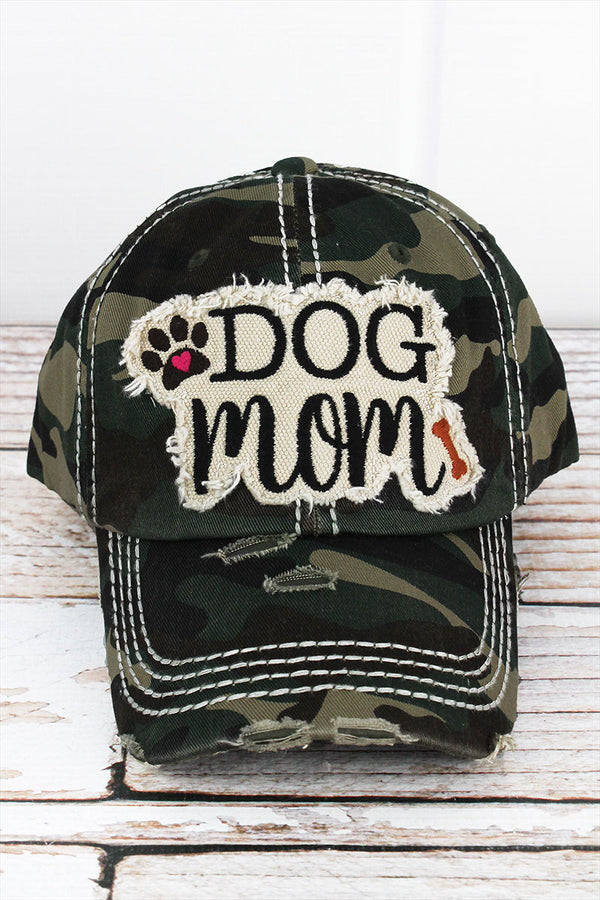 Distressed Camo 'Dog Mom' Cap
