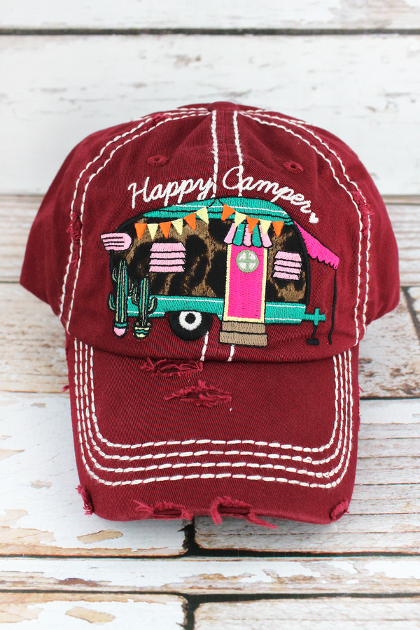 Distressed Burgundy with Leopard 'Happy Camper' Cap