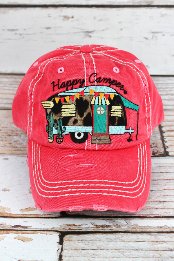 Distressed Salmon with Leopard 'Happy Camper' Cap
