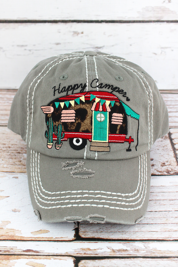 Distressed Steel Gray with Leopard 'Happy Camper' Cap