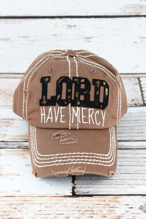 Distressed Mocha with Leopard 'Lord Have Mercy' Cap