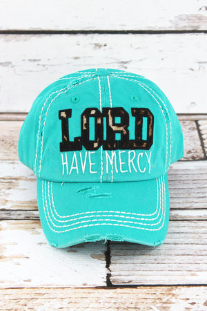 Distressed Turquoise with Leopard 'Lord Have Mercy' Cap