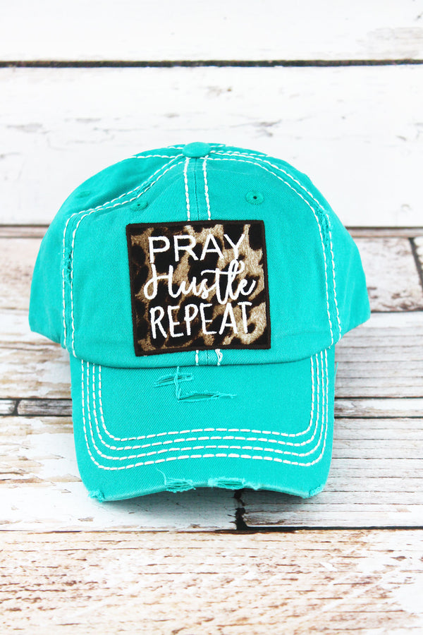 7053e812a80 Distressed Turquoise with Leopard  Pray Hustle Repeat  Cap