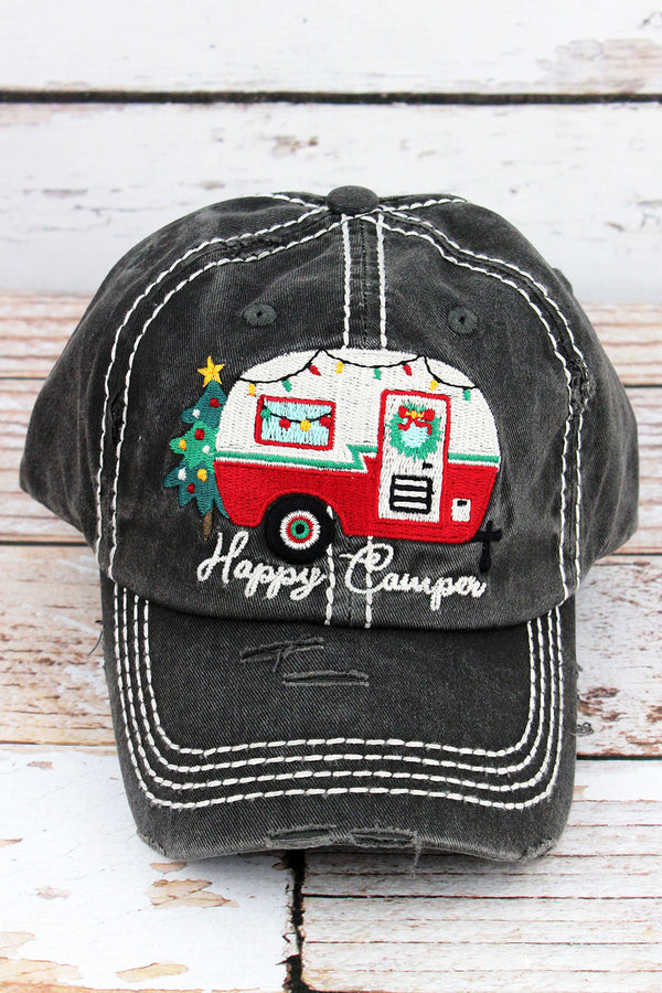 Distressed Black Christmas 'Happy Camper' Cap