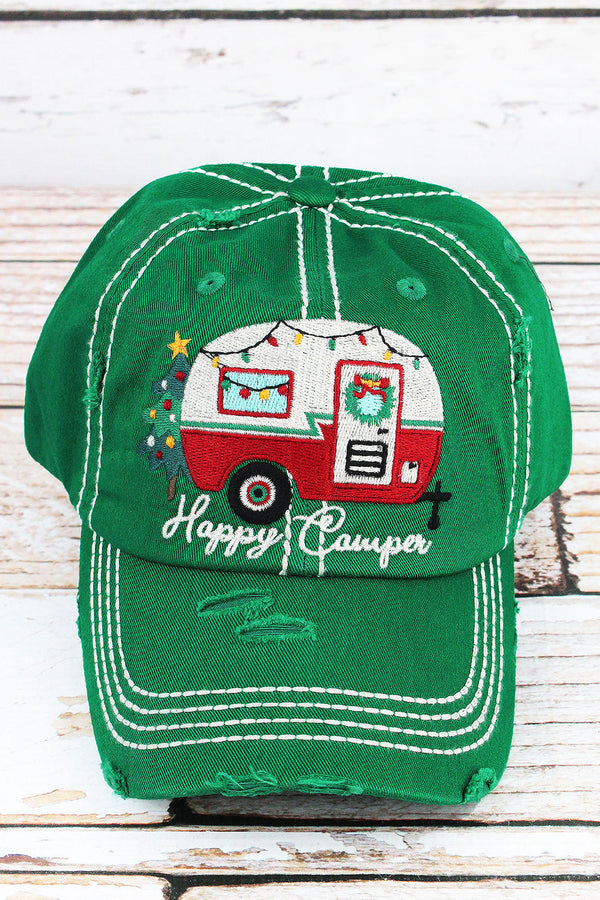 Distressed Kelly Green Christmas 'Happy Camper' Cap