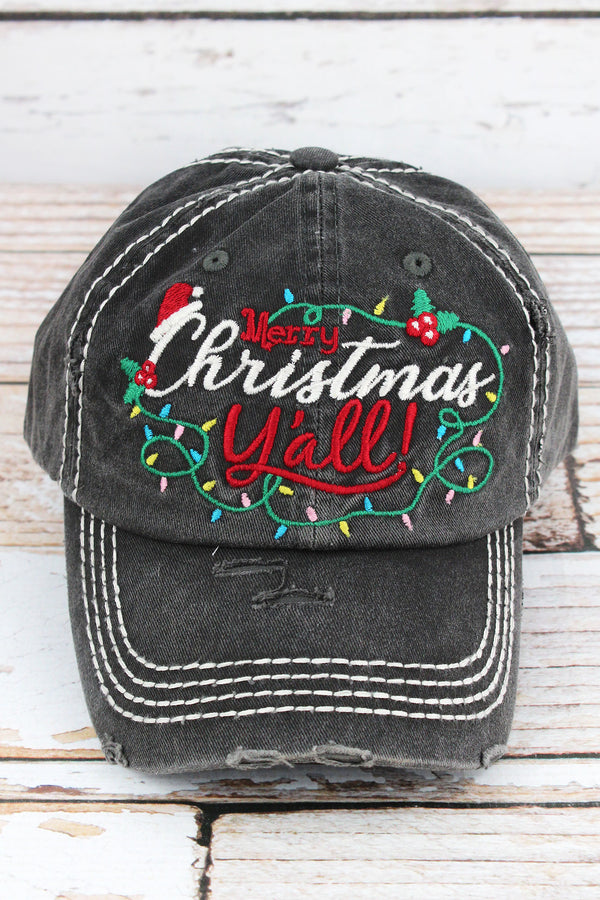 Distressed Black 'Merry Christmas Y'all!' Cap