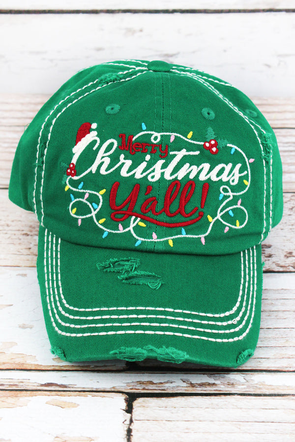Distressed Kelly Green 'Merry Christmas Y'all!' Cap