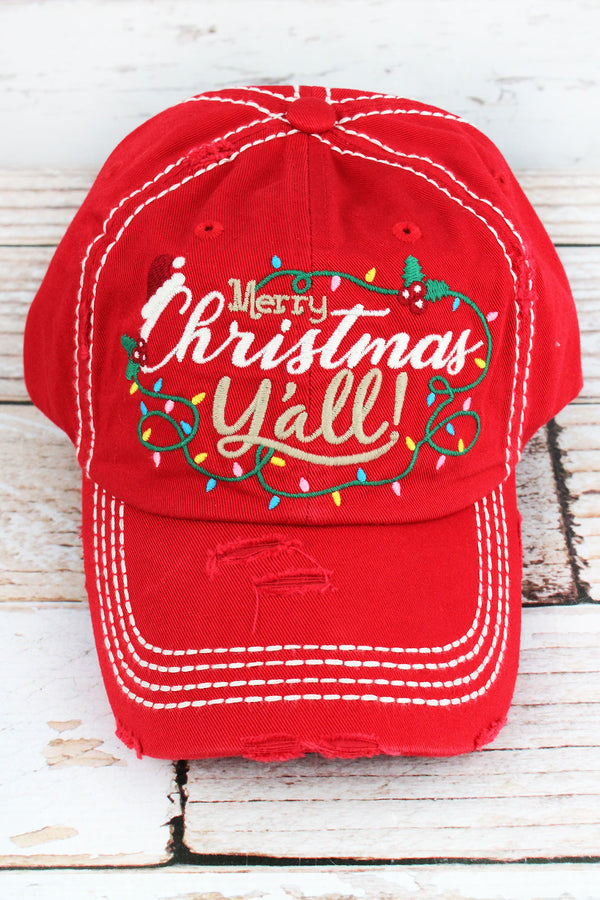 Distressed Red 'Merry Christmas Y'all!' Cap
