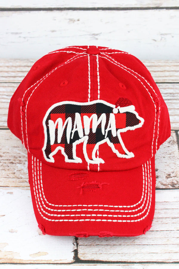 Distressed Red Christmas Mama Bear Cap