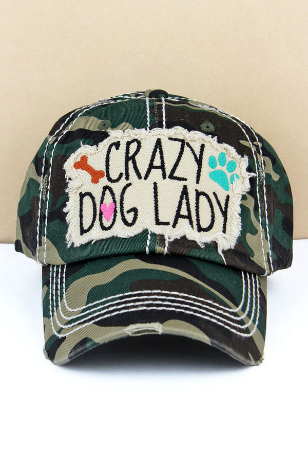 Distressed Camo 'Crazy Dog Lady' Cap