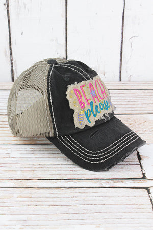 Distressed Black 'Beach Please' Mesh Cap