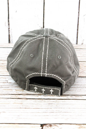 Distressed Light Gray Floral Cross Cap