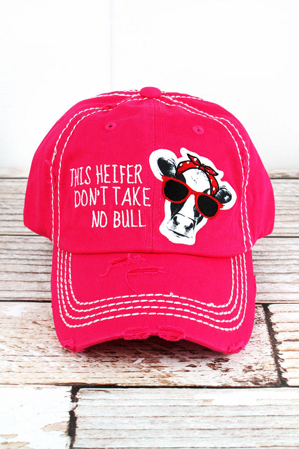 Distressed Hot Pink 'This Heifer Don't Take No Bull' Cap