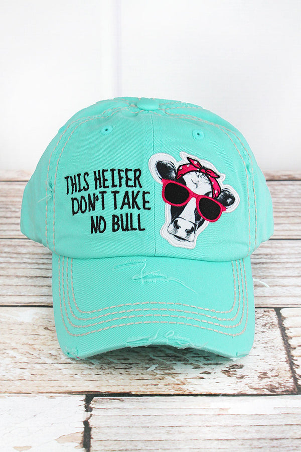 Distressed Mint Blue 'This Heifer Don't Take No Bull' Cap
