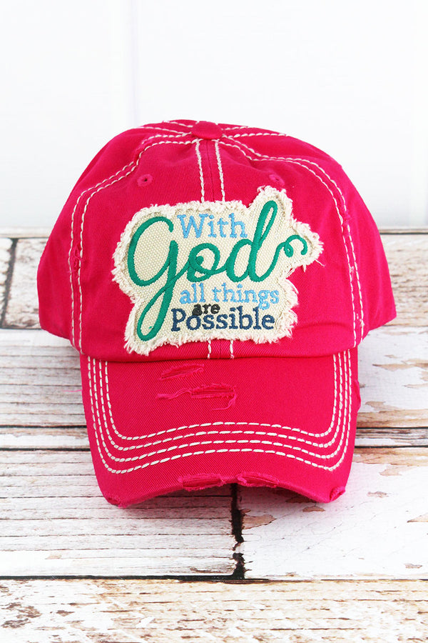 f89724504bf0e Distressed Hot Pink  All Things Possible  Cap
