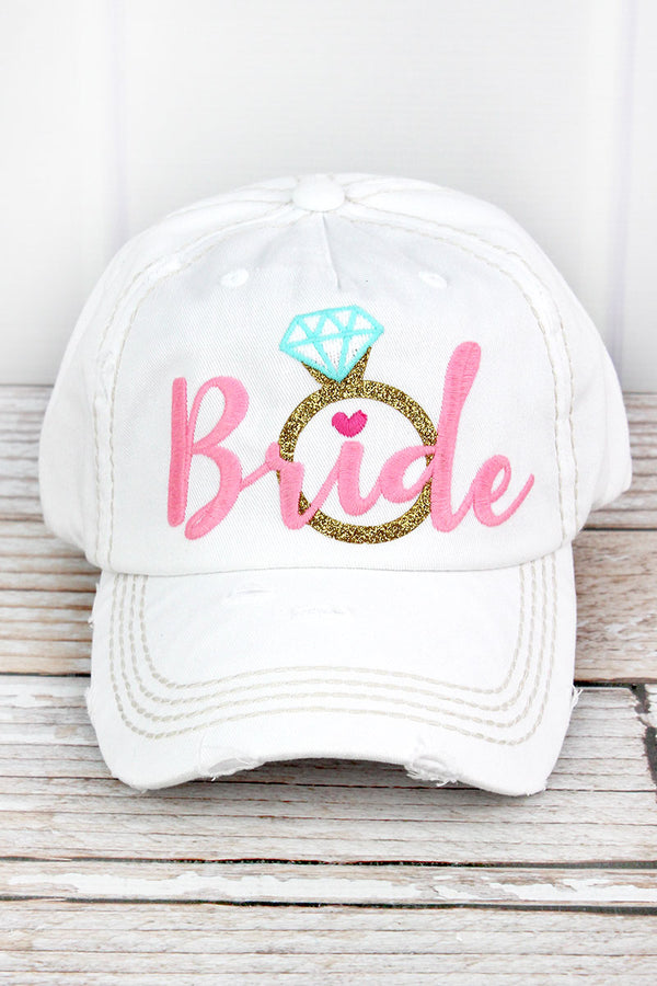 Distressed White with Pink 'Bride' Diamond Ring Cap