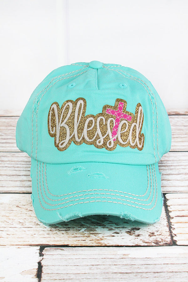 Distressed Mint Blue with Glitter 'Blessed' Cap