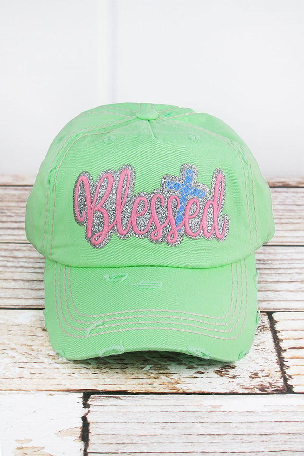 Distressed Mint Green with Glitter 'Blessed' Cap