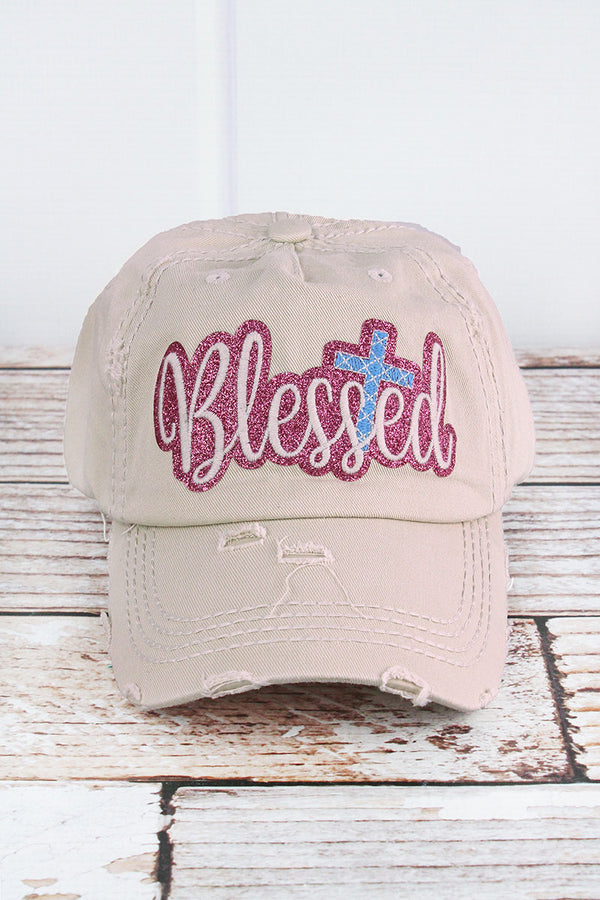 Distressed Stone with Glitter 'Blessed' Cap