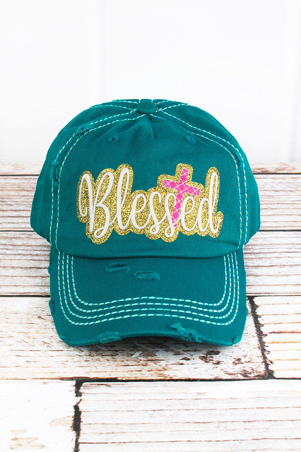 Distressed Turquoise with Glitter 'Blessed' Cap
