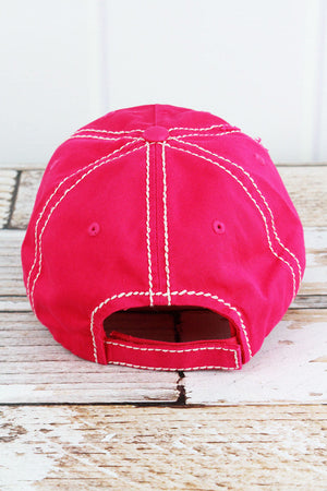 Distressed Hot Pink 'Faith Over Fear' Cap