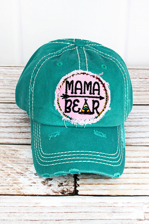 Distressed Turquoise 'Mama Bear' Cap
