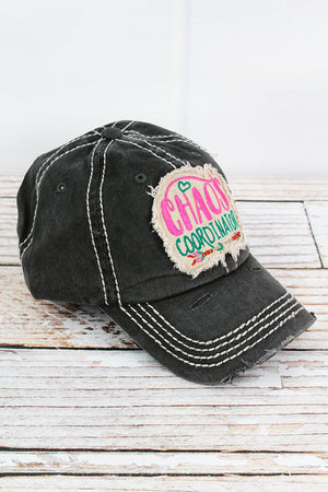 Distressed Black 'Chaos Coordinator' Cap