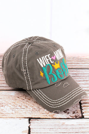 Distressed Steel Gray 'Wife Mom Boss' Cap