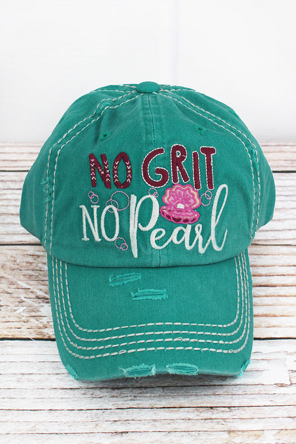 Distressed Turquoise 'No Grit No Pearl' Cap