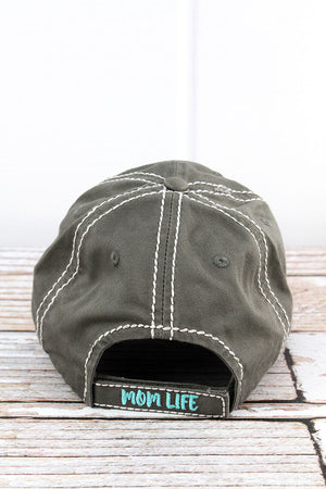 Distressed Steel Gray 'Thou Shalt Not Try Me Mom 24:7' Cap