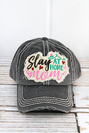 Distressed Black 'Slay At Home Mom' Cap