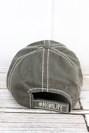 Distressed Steel Gray 'Slay At Home Mom' Cap