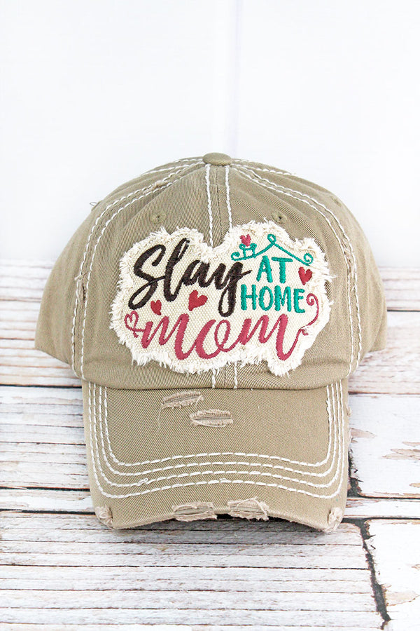 Distressed Khaki 'Slay At Home Mom' Cap