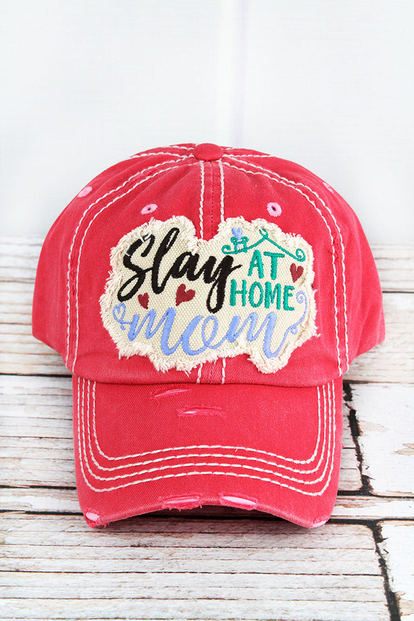 Distressed Salmon 'Slay At Home Mom' Cap
