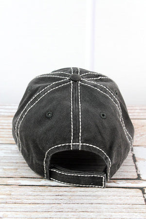 Distressed Black 'Don't Mess With Mama' Cap
