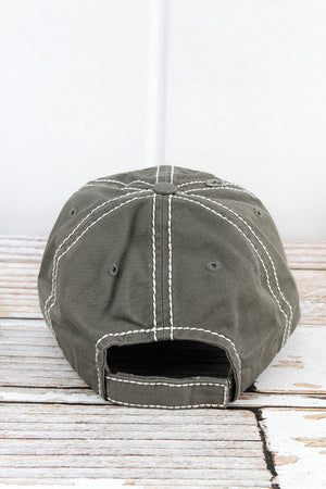 Distressed Steel Gray 'Don't Mess With Mama' Cap