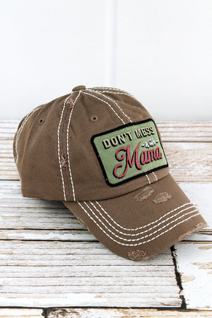 Distressed Mocha 'Don't Mess With Mama' Cap