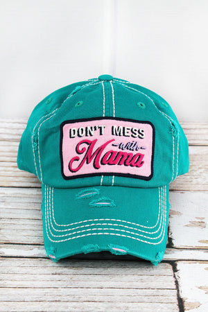 Distressed Turquoise 'Don't Mess With Mama' Cap