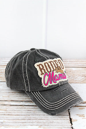 Distressed Black 'Rodeo Mama' Cap