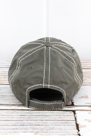 Distressed Steel Gray 'Rodeo Mama' Cap
