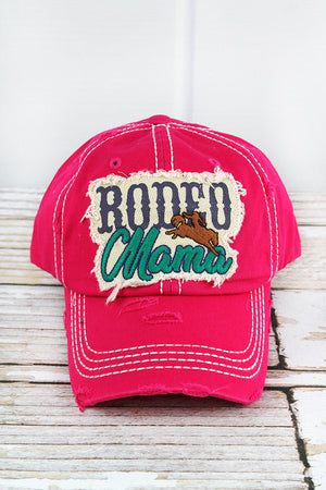 Distressed Hot Pink 'Rodeo Mama' Cap