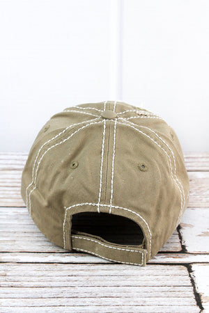 Distressed Khaki 'Rodeo Mama' Cap
