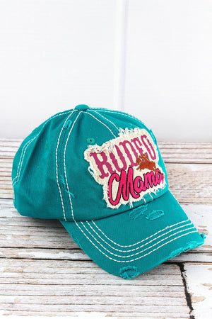 Distressed Turquoise 'Rodeo Mama' Cap