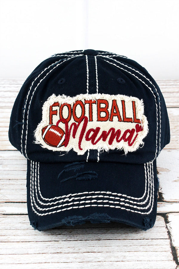 Distressed Navy 'Football Mama' Cap