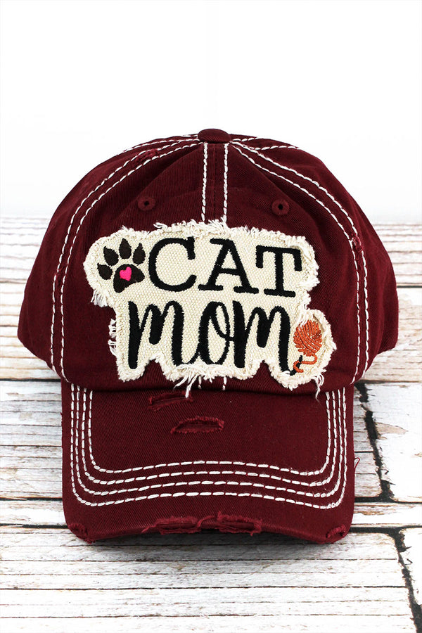 Distressed Burgundy 'Cat Mom' Cap